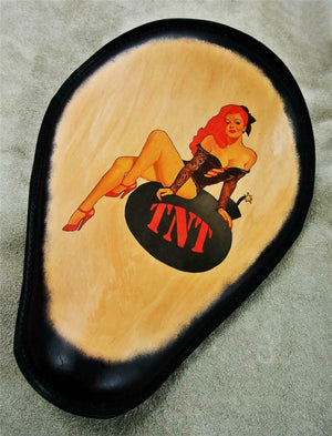 TNT Pin Up Tattoo Spring Seat Black Frame Leather Chopper Harley Sportster - Mother Road Customs