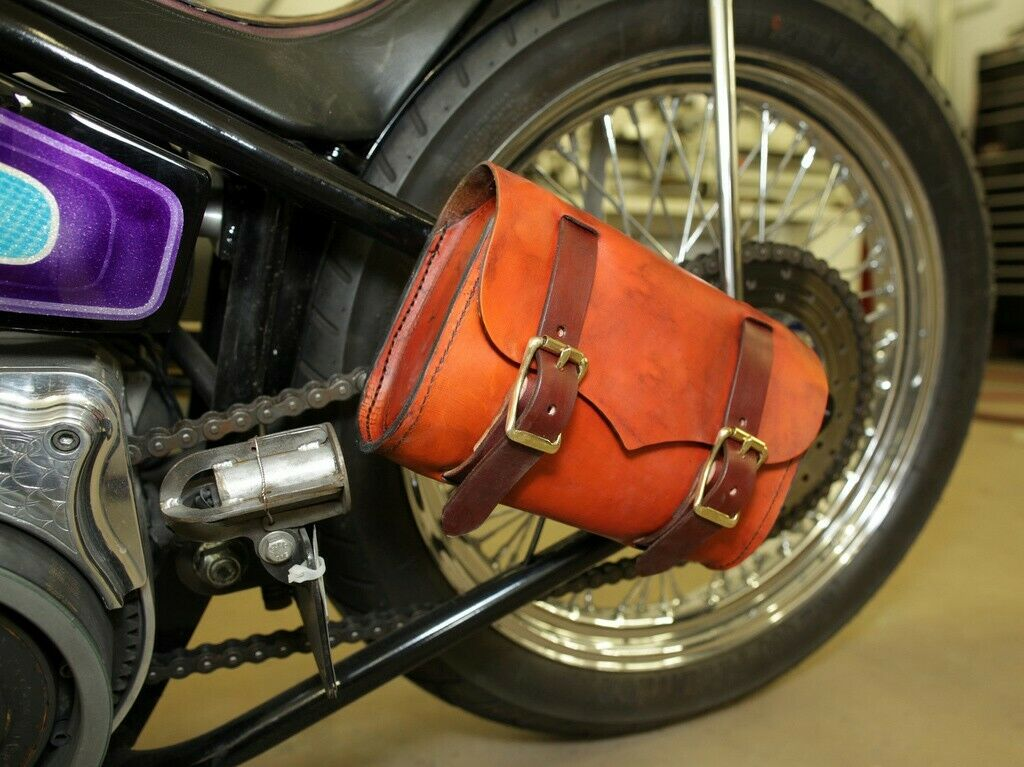 BlackDis Leather Tool Roll Bag Saddle Harley Chopper Bobber Motorcycle Sportster - Mother Road Customs