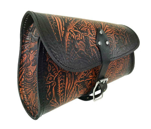2015-2020 Indian Scout Bobber Swing Arm Saddle Bag Ant Brown Tooled Leather Seat - Mother Road Customs