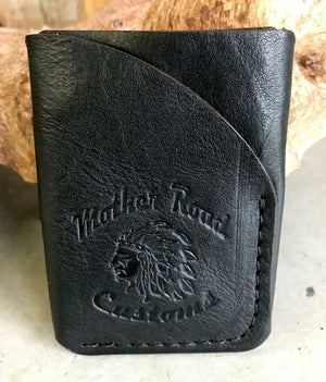 4 Banger Minimalist Men's Women's Black Tooled Sepichi Veg Tan Leather Wallet - Mother Road Customs