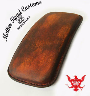 Passenger Seat P-Pad Chopper Harlery Bobber Sportster 201 Brown Dist Leather MRC - Mother Road Customs