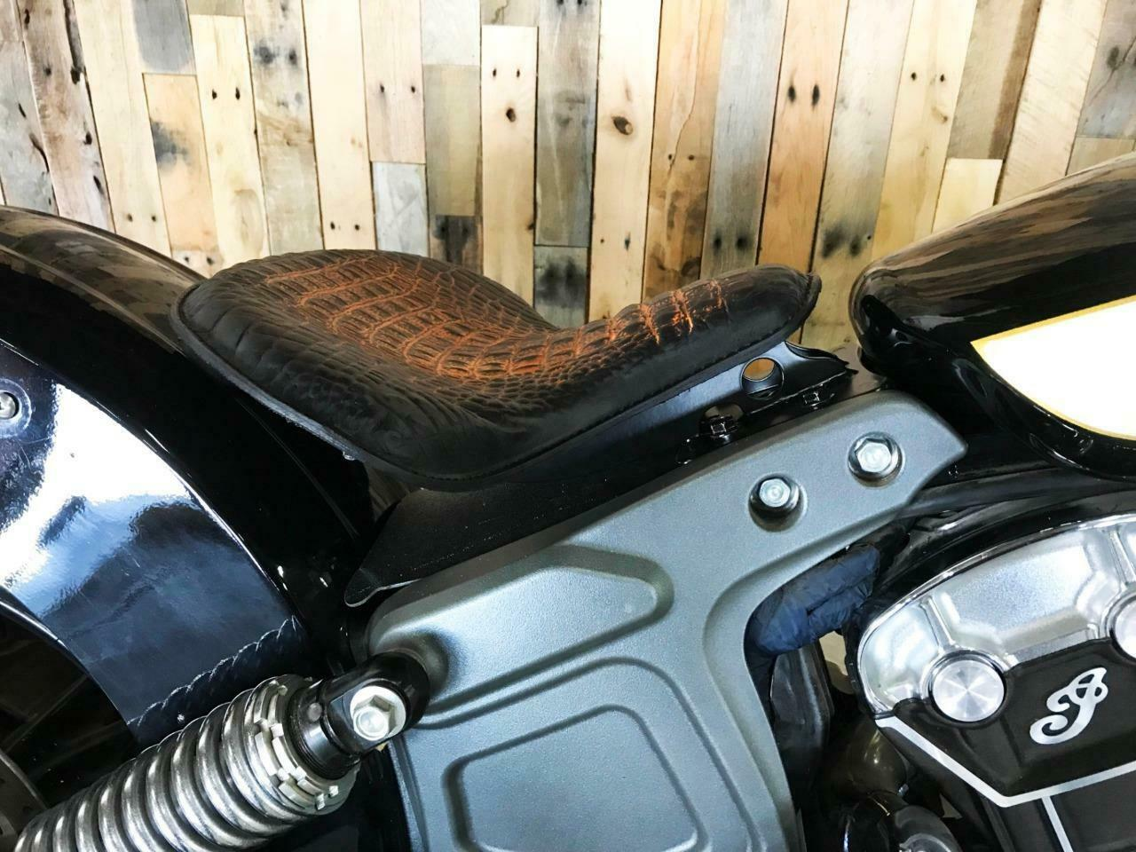 """V-Twin 47-0190 Brown Leather Solo Seat Kit w// 5/"""" Springs Indian Scout 15-Up"""