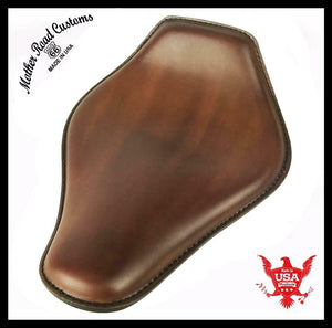 Spring Seat Chopper Bobber Harley Sportster 10x13 Brown Snub Nose Leather Honda - Mother Road Customs