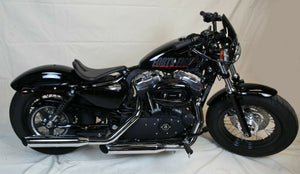 "2010-2020 Harley Sportster Seat Black Leather 10x14"" Long Nose No Spring Kit - Mother Road Customs"