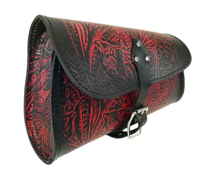 2015-2020 Indian Scout Bobber Swing Arm Saddle Bag Antique Red Tooled Leather - Mother Road Customs