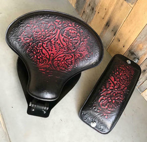 2000-2017 Harley Softail Spring Seat & Pad Ant Red Oak Leaf Leather Mounting Kit - Mother Road Customs