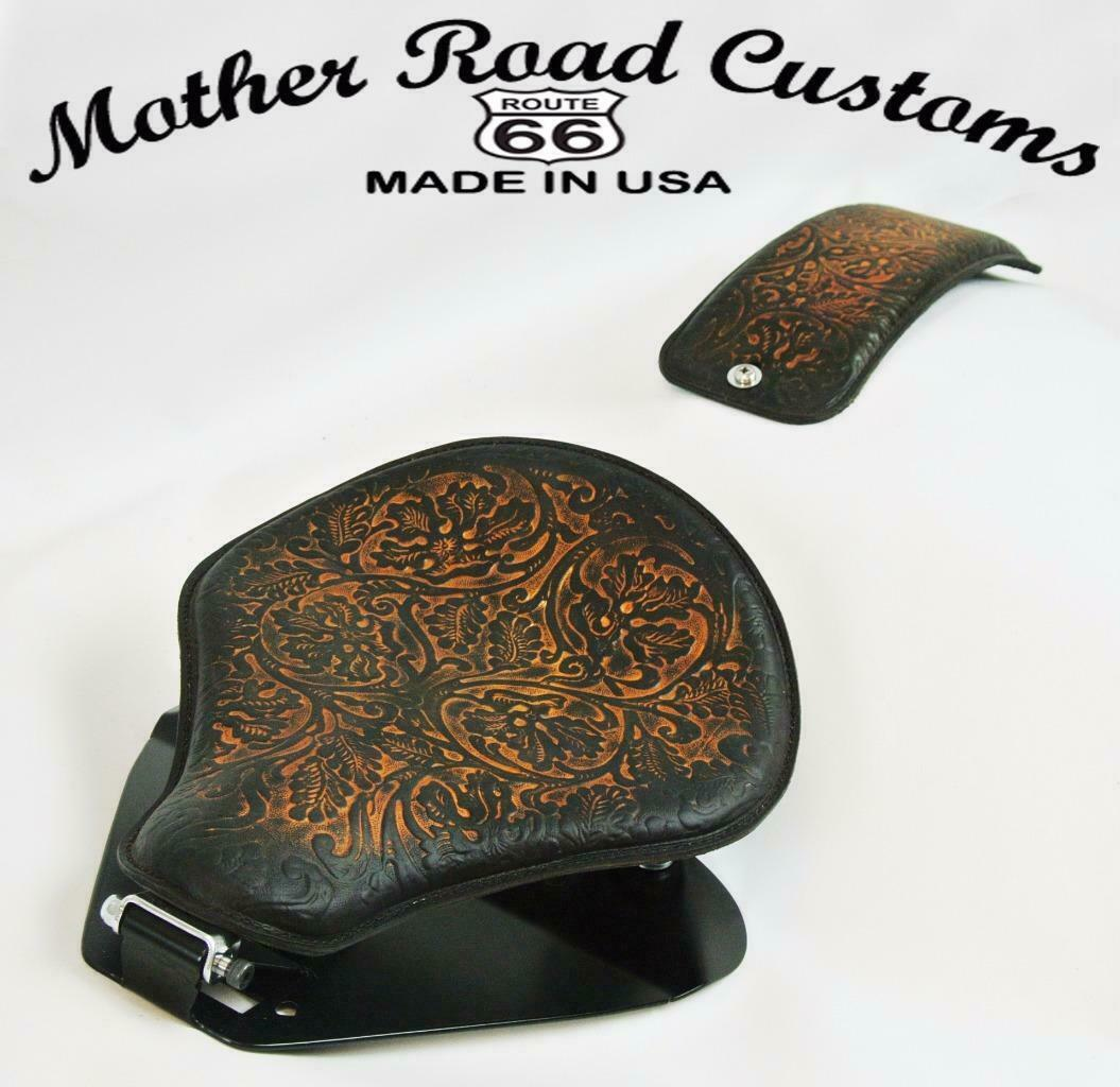 1998-2020 Yamaha V Star 650 Spring Seat P-Pad Mounting Kit Br OakLeaf Leather bc - Mother Road Customs