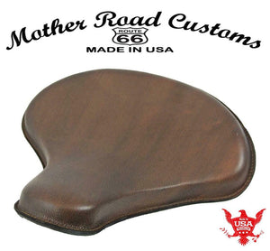 "15x14"" Soft Brn Leather Spring Solo Tractor Seat Chopper Bobber Harley Sportster - Mother Road Customs"