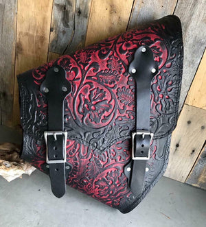 2000-2020 Harley Softail Leather Saddle Bag Hardtail Motorcycle AntRed Oak Leaf - Mother Road Customs