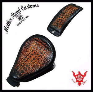 2004-2006 Sportster Harley Seat pad Kit Ant Brn Gator All  Models Leather USA bc - Mother Road Customs