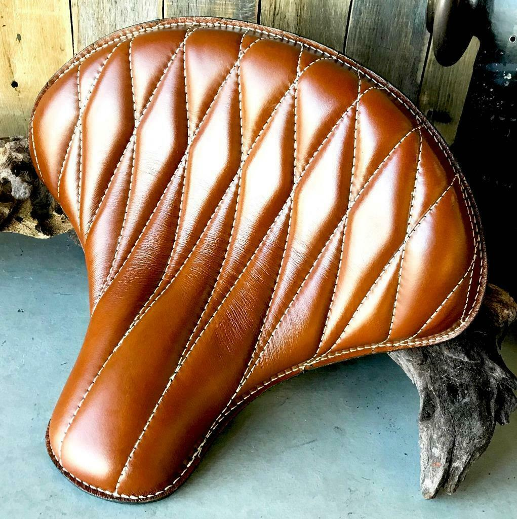 Spring Solo Tractor Seat Chopper Scout Bobber Harley 15x14 Tan Diamond Leather - Mother Road Customs