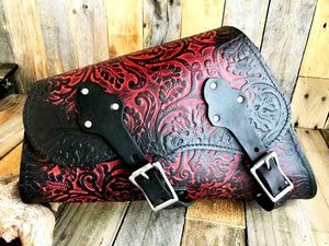 1982-2020 Sportster Saddle Bag Harley Ant Red Oak Leaf Leather Fits All Models - Mother Road Customs