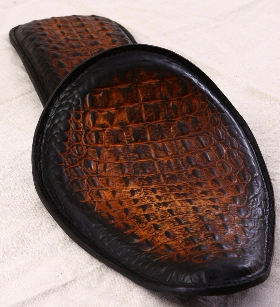 "Spring Solo Seat P-Pad Chopper Harley Sportster 10x13"" Antique Brown Alligator"