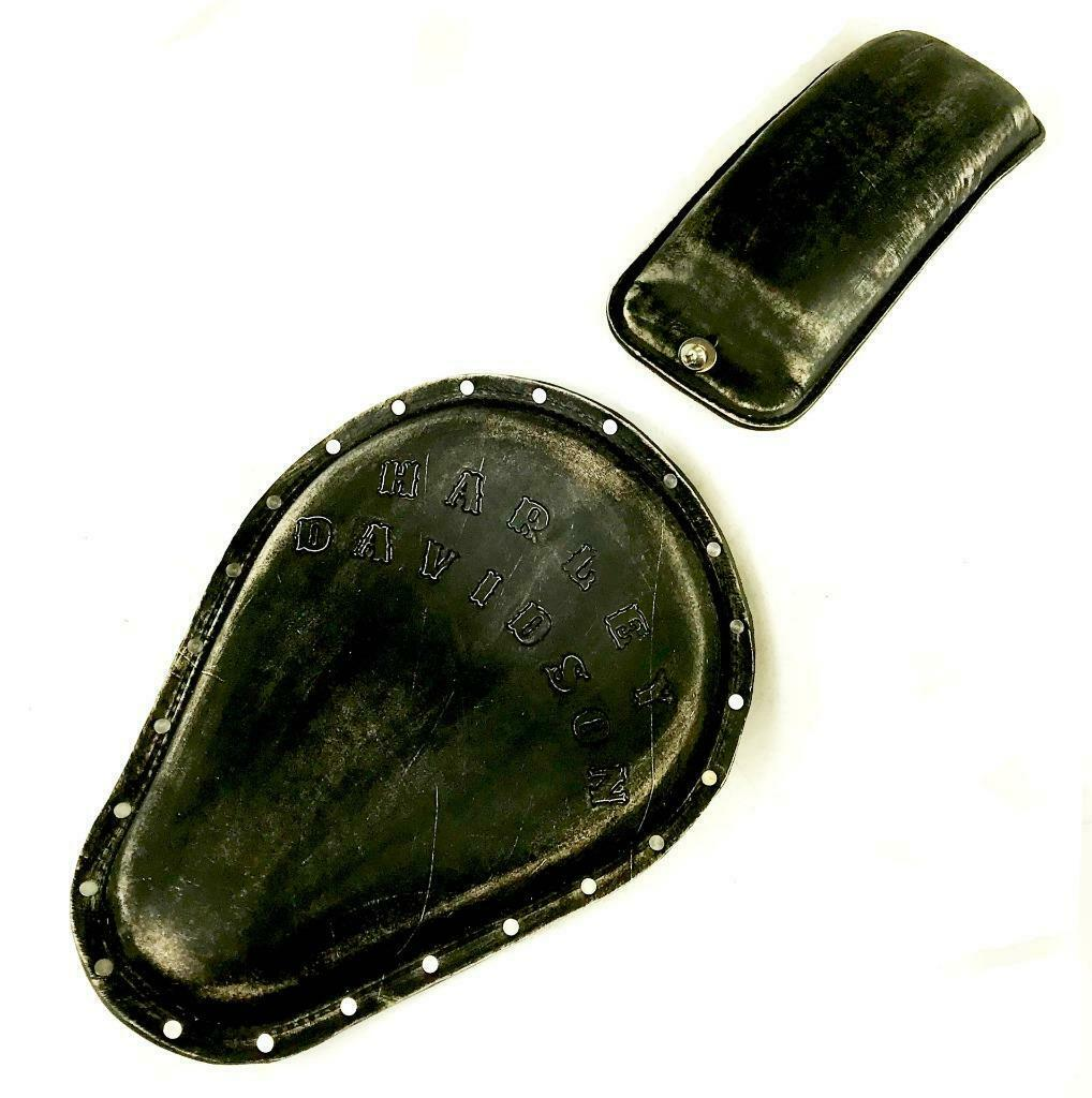 Spring Solo Seat Sportster Harley Tooled Blk Dist Rivets Pad Chopper Bobber Dyna