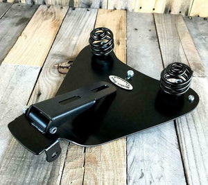 2010-2021 Sportster Harley Spring Seat Black Distress Leather Mount Kit bcs