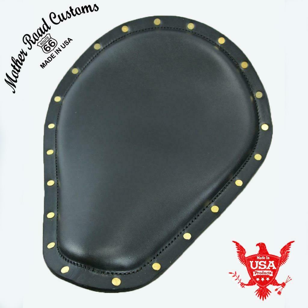 "Seat Spring Chopper Harley Sportster 11x14"" Smooth Black Brass Rivets Leather - Mother Road Customs"
