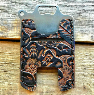 Hawk One Minimalist Men's Women's Ant Brn Tooled Leather Stainless Steel Wallet - Mother Road Customs