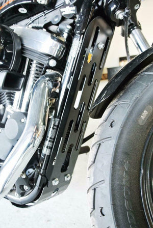 Engine Frame Rock Guard Harley Sportster  2004-2020 2 pc Black Fits All Models - Mother Road Customs