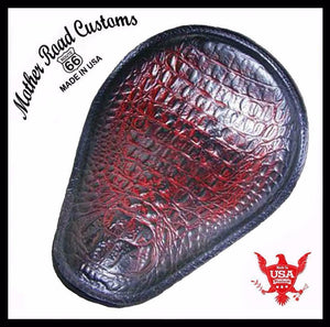 Harley Sportster Spring Seat Chopper Bobber Cherry Alligator Embossed Leather - Mother Road Customs
