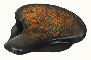 "17x16"" Spring Solo Tractor Seat Harley Touring Indian Chief Ant Brown Tooled MRC - Mother Road Customs"