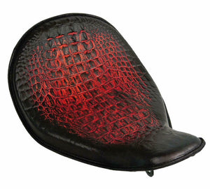 2010-2020 Harley Sportster Solo Seat High Back On The Frame AntRed Gator Leather - Mother Road Customs