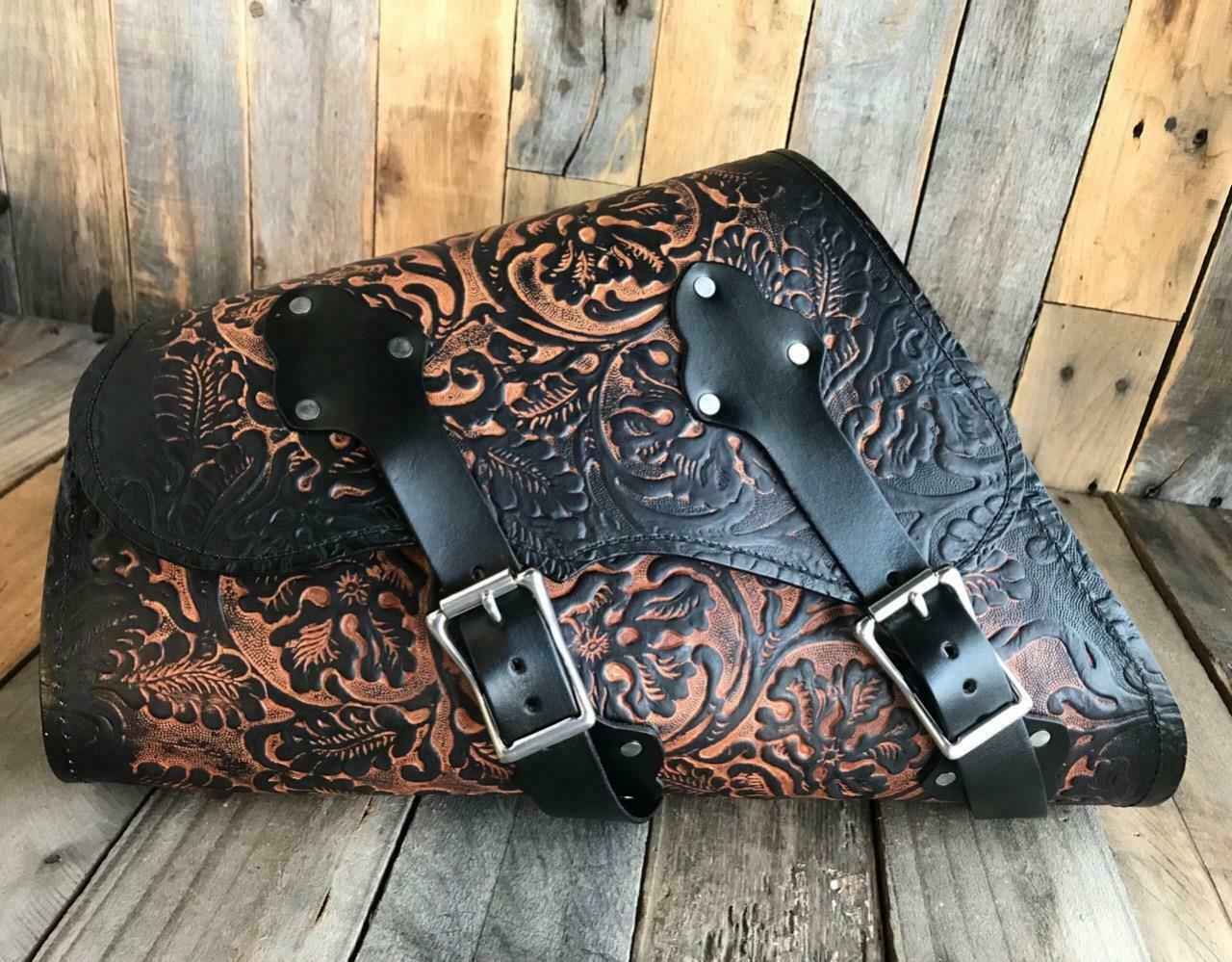 1982-2020 Sportster Saddle Bag Harley Frame Ant Brown Oak Leaf Leather USA! MRC - Mother Road Customs