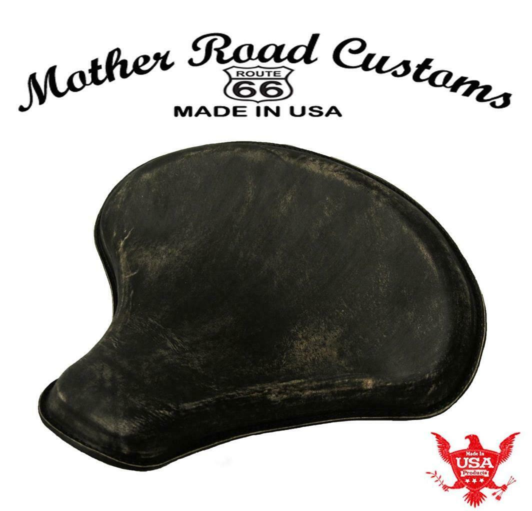 "Spring Solo Tractor Seat Chopper Bobber Harley Sportste 15x14"" Black Ds Leather - Mother Road Customs"