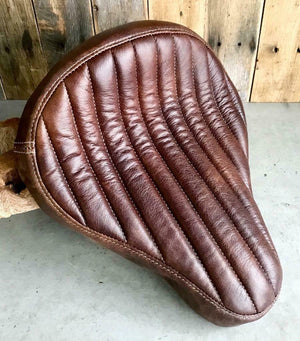 "12x13"" Brown Tuck Roll Seat Chopper Harley Sportster Indian Bobber Bates Style - Mother Road Customs"