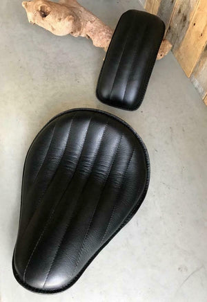 Seat P-Pad Chopper Harley Sportster Bobber Chopper 11x14 Blk Tuck Roll Leather - Mother Road Customs
