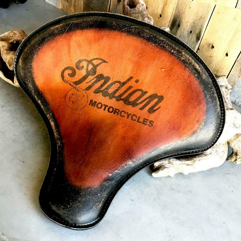 Spring Solo Tractor Seat Bobber 15x14 Indian Antique Brown Distressed Tattoo Mother Road Customs