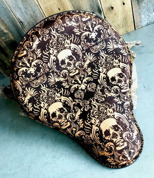 Spring Leather Seat Chopper Sportster Harley 12x13 Scroll Skull Engraved Tooled - Mother Road Customs