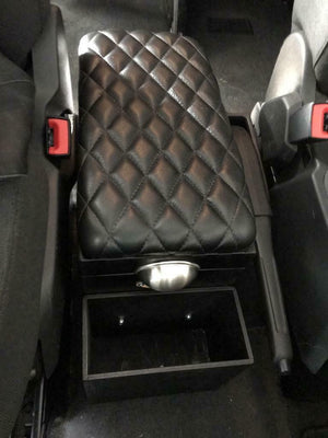 2015-2020 Ford Transit 150 250 350 Console Storage Diamond Pleated Leather Top - Mother Road Customs