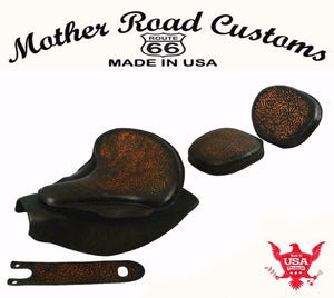 2014-20 Indian Chief Spring Seat Mounting Kit Pad Back Rest Bib Ant Brn Oak L bs