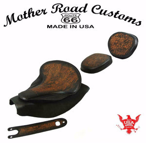 2014-2021 Indian Chief AntBrn Tooled Spring Seat Mounting Kit Pad Back Rest Bib bs