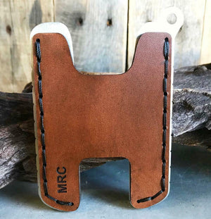 Hawk Two Minimalist Men's Women's Brown Veg Tan Leather Stainless Steel Wallet - Mother Road Customs