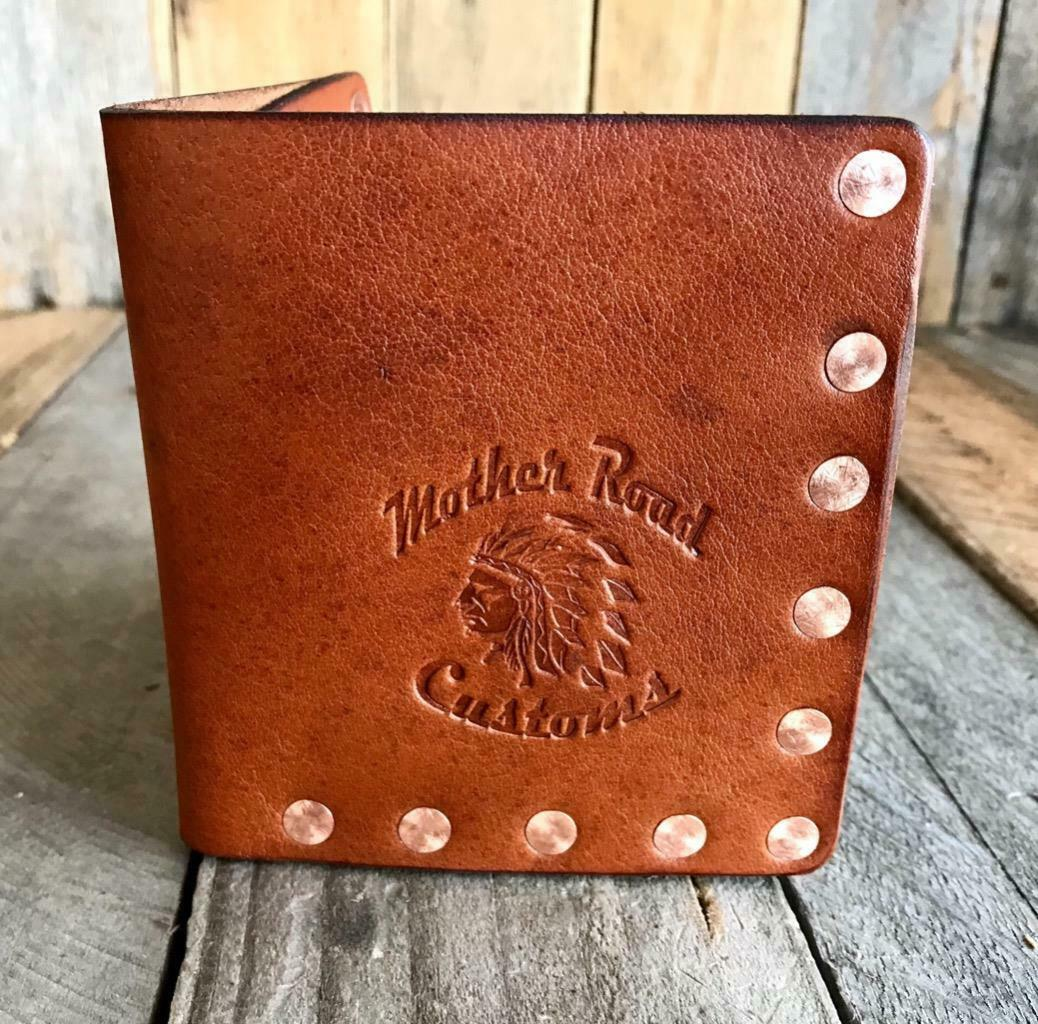 """Riveter"" Men's Tan Leather Bifold Wallet With Solid Copper Rivets Seat Harley - Mother Road Customs"