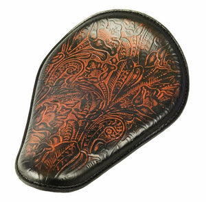 Spring Seat Chopper Bobber Harley Sportster Honda 10x13 Ant Brown Tooled Leather - Mother Road Customs