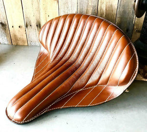 "Spring Solo Tractor Seat Harley Touring Indian Chief 17x16"" Desert Tan Leather - Mother Road Customs"