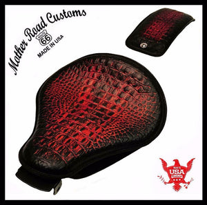 2007-2009 Sportster Harley Spring Solo Seat P-Pad Kit Ant Red Gator Leather bs - Mother Road Customs