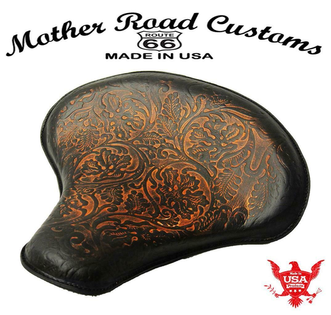 Spring Tractor Seat Chopper Bobber Harley Sportster 15x14 Ant Brn Oak Leather - Mother Road Customs
