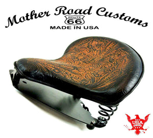 "2015-20 Indian Scout & Bobber Spring Tractor Seat 15x14"" ABr Tooled Mounting Kit - Mother Road Customs"