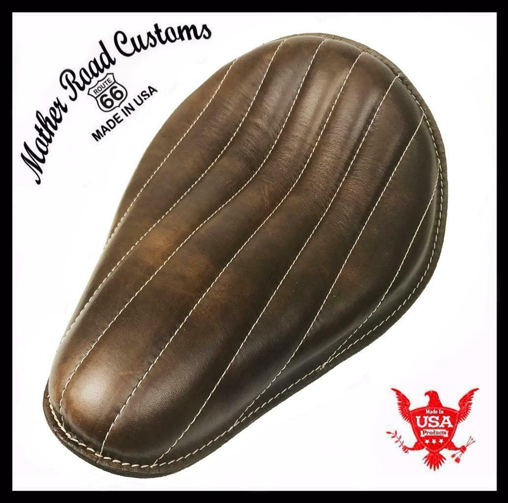 Chopper Harley Sportster Bobber Bates Seat  11x14 Brown Tuck Roll Leather - Mother Road Customs