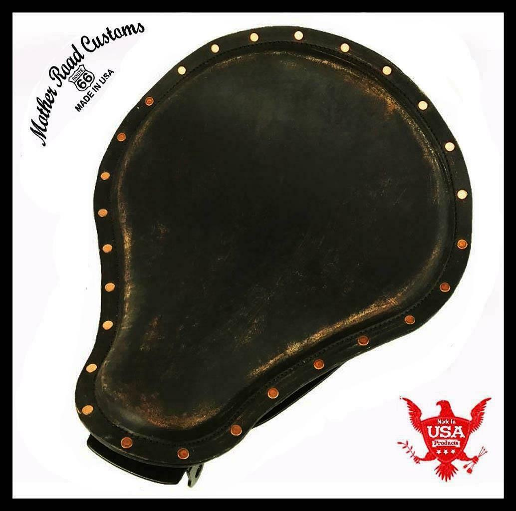 2004-2006 Harley Sportster Spring Solo Black Distressed Copper Rivets Leather bc - Mother Road Customs