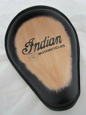 Spring Solo Seat Choppter Bobber Indian Logo Tattoo Black Leather MRC