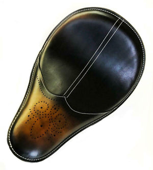 11x16 Ant Brown Wingtip Leather Spring Solo Seat Chopper Bobber Harley Softail - Mother Road Customs