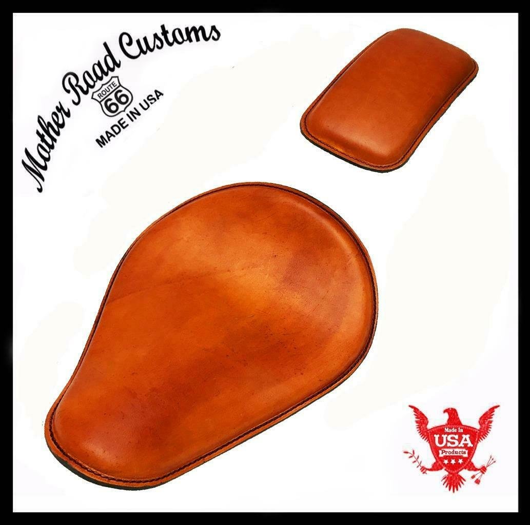 Spring Solo Seat P-Pad Chopper Harley Sportster Bobber Tan Distressed Leather