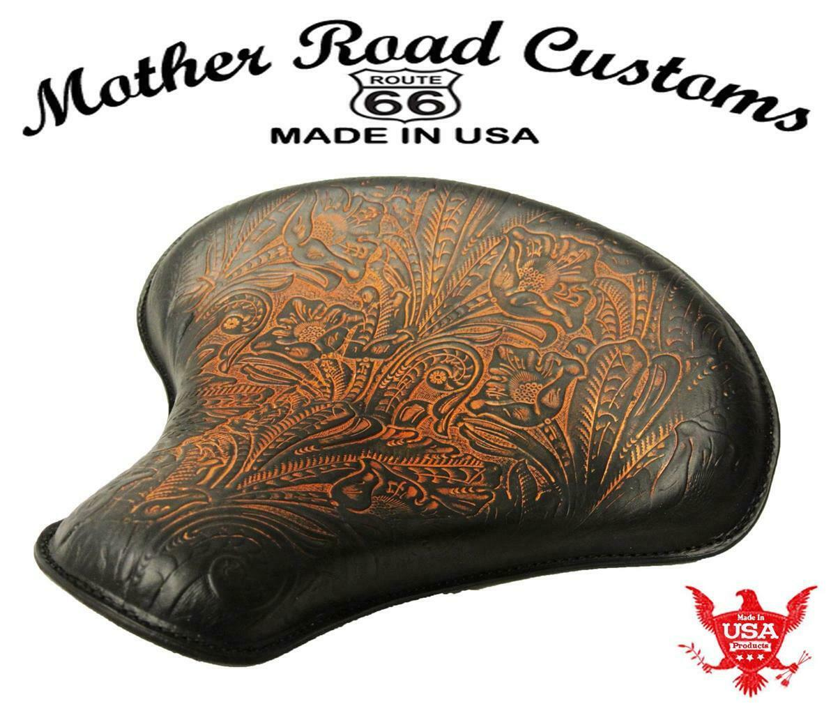 Spring Seat Chopper Bobber Harley Sportste 15x14 Tractor Ant Brn Tooled Leather Mother Road Customs