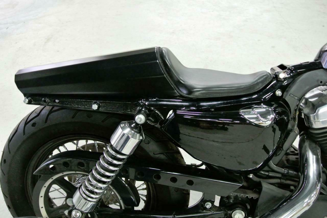 2010-2020 Harley Sportster Cafe Racer Cowl Steel Fender Black Leather Solo Seat - Mother Road Customs