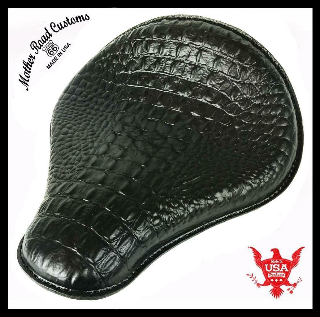 "Spring Seat Harley Sportster Bobber Chopper 13x15x1"" Black Alligator Leather MRC"