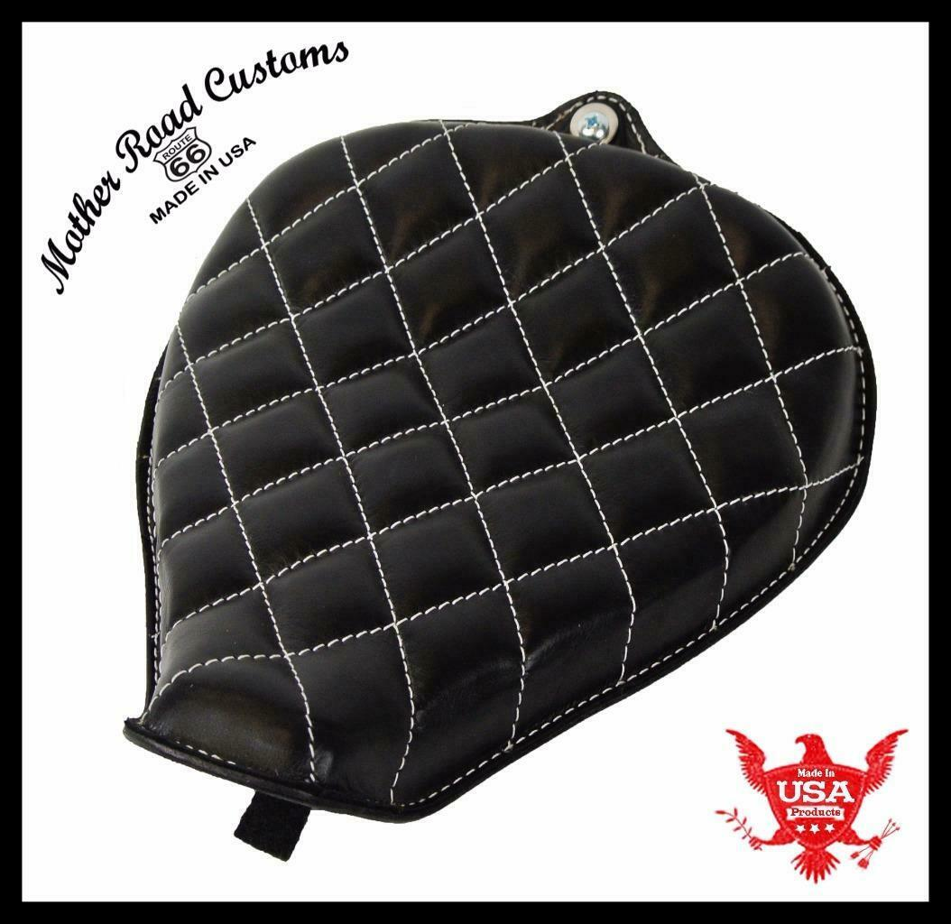 2010-2020  Sportster Harley On Frame Leather Seat Black White Stitch All Models - Mother Road Customs